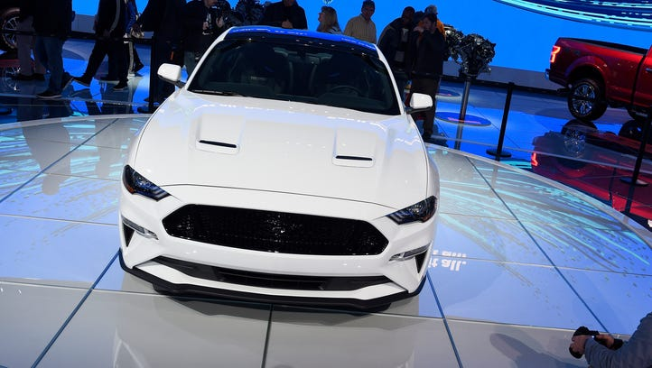 The front grille of the 2018 Ford Mustang, unveiled at Cobo Center Tuesday.