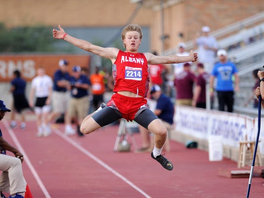 Albany's Dax Neece takes off during the Class 2A boys long jump at the UIL State Track and Field Championships at the University of Texas' Mike A. Myers Stadium in Austin on Saturday. Neece's jump of 22 feet, 6 inches was enough for second place.