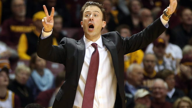 Minnesota men's basketball coach Richard Pitino shouts instructions to his team in the first half of a game against Rutgers on Jan. 17 in Minneapolis.