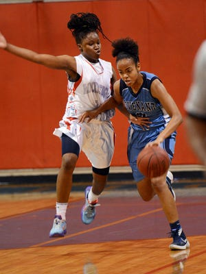 Alexis Gordon of Covenant Christian is guarded by Lapresha Stanley of Rockledge (2) during a game in Rockledge