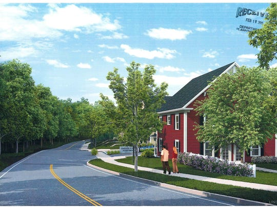 A rendering of the view from Grove Street of a proposed new 232-unit housing development in Burlington.