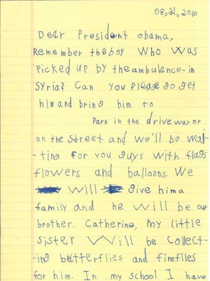 Six-year-old Alex from Scarsdale, N.Y., wrote this letter to President Obama.