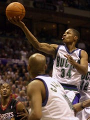 Ray Allen soars to the basket against the 76ers on