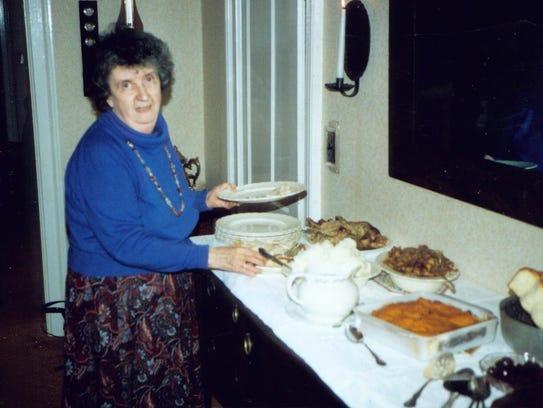 Sara Memmott at Thanksgiving in 1990.