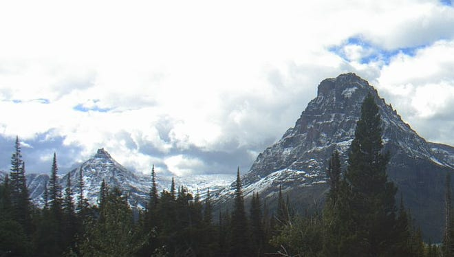 A webcam shows a dusting of snow at Glacier National Park in Montana.