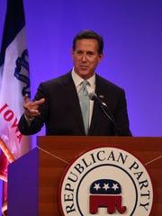 Former Pennsylvania Sen. Rick Santorum speaks on Saturday,