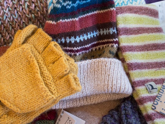 Gloves, hats and scarves made out of alpaca yarn were