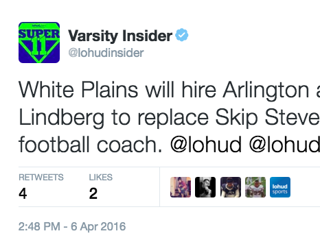 White Plains will appoint Arlington assistant Mike Lindberg as its head football coach.