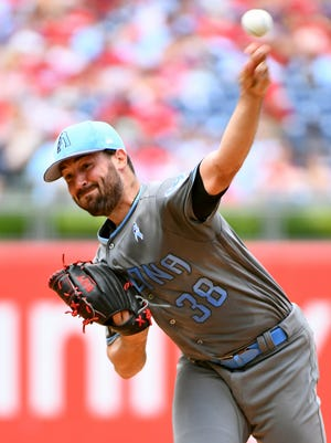Jun 18, 2017: Arizona Diamondbacks starting pitcher Robbie Ray (38) throws a pitch during the first inning against the Philadelphia Phillies at Citizens Bank Park.