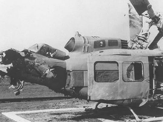 The helicopter that Floyd Stringer was flying in was blown up during Vietnam and injured Floyd and 14 other soldiers and killed two.