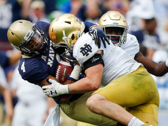Notre Dame will look to avenge last year's loss to Navy.
