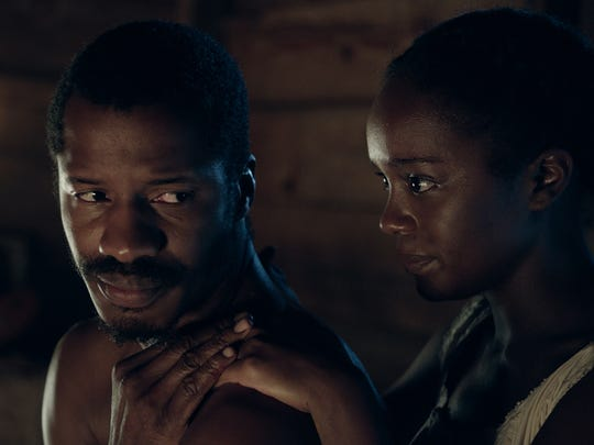 Nate Parker and Aja Naomi King in 'The Birth of A Nation.'