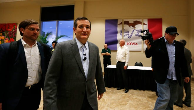 Republican Sen. Ted Cruz arrives Thursday, April 2, 2015, at a town-hall style meeting in Des Moines.