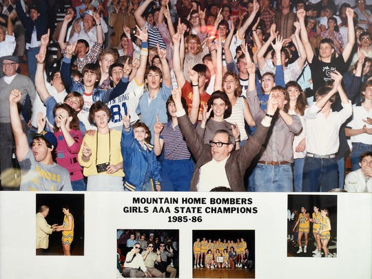One of Janet Wood's favorite pieces of memorabilia is this photograph from the 1985-86 girls' state championship basketball game. Wood coached the Lady Bombers to the AAA state title that year.