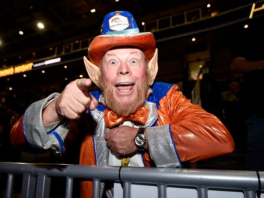 Denver Broncos fan Rocky the Colorado Leprechaun reacts