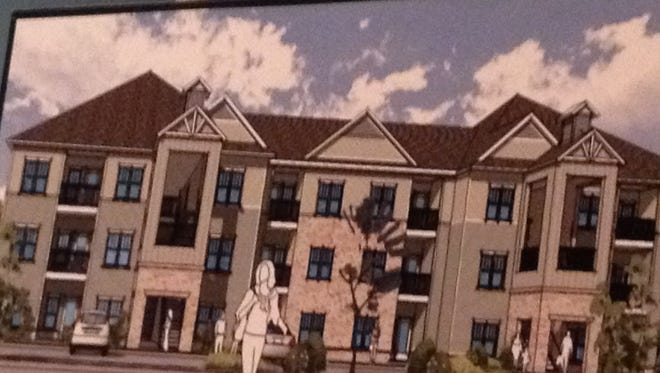 Rendering of a proposed low-income apartment complex along Louisiana Avenue.