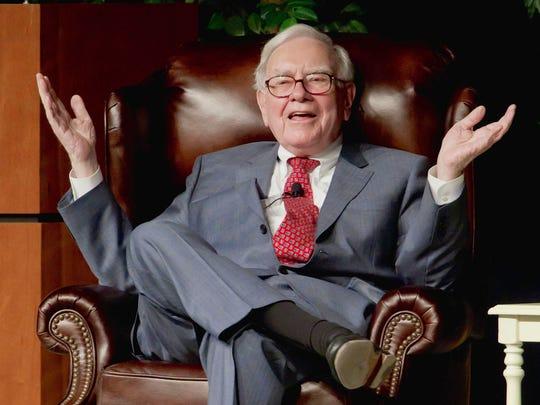 Warren Buffett speaks in Omaha, Neb., at an event to