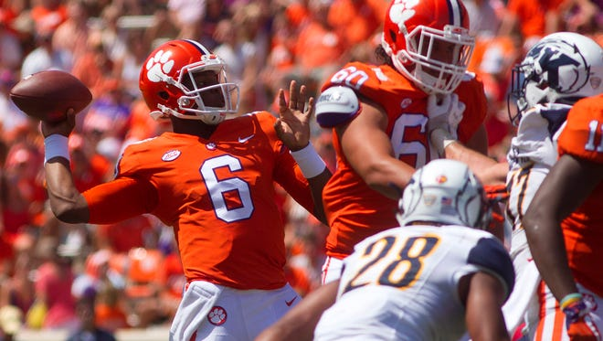 Clemson quarterback Zerrick Cooper looks to pass the ball during the second half against Kent State.