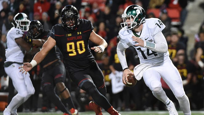 Michigan State quarterback Brian Lewerke (14) got the start and played his only full game last season in the Spartans' 28-17 loss at Maryland.