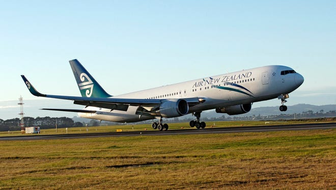 This file photo from Sept. 24, 2009, shows an Air New Zealand Boeing 767 taking off from the Auckland International Airport.