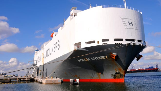 Port Canaveral received its first shipment of vehicles from Asia in December, on the cargo ship Hoegh Sydney.
