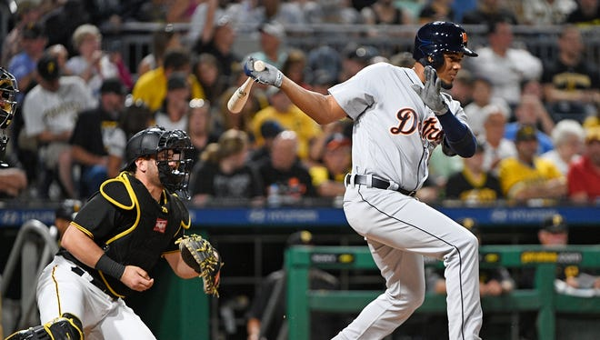 Tigers third baseman Jeimer Candelario singles to right field in the sixth inning of the Tigers' 6-3 loss to the Pirates on Tuesday, Aug. 8, 2017, in Pittsburgh.