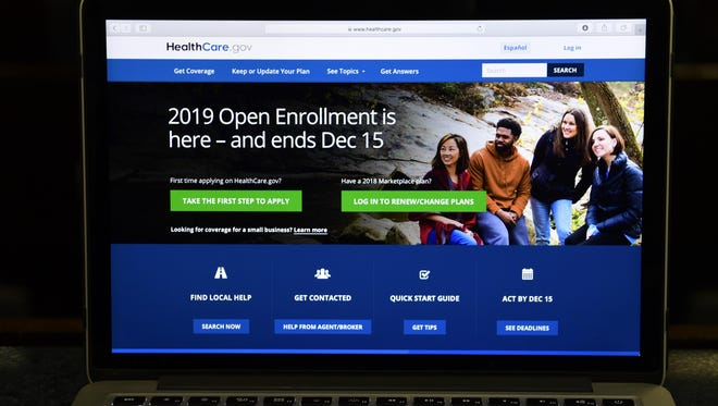 In this Nov. 1, 2018, file photo, the federal website where consumers can sign up for health insurance under the Affordable Care Act is shown on a computer screen in Washington.
