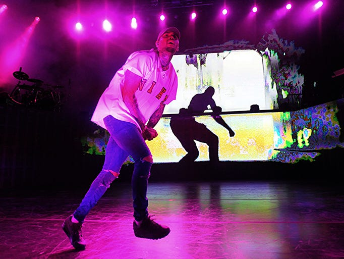 Chris Brown performs at DTE Energy Music Theatre on