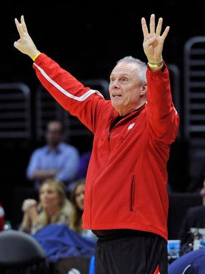 Wisconsin Badgers head coach Bo Ryan watches during practice before the semifinal of the west regional at Staples Center on March 25 in Los Angeles, California.