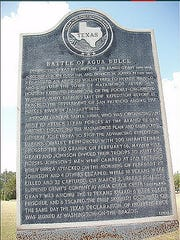 On March 2, 1836. at the Battle of Agua Dulce Creek  Mexican troops en route to take on Sam Houston's Army got involved attacked Texas volunteers and Tejanos.