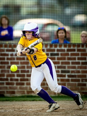 OC's Courtney Thomassee lays down a bunt in a game this season.