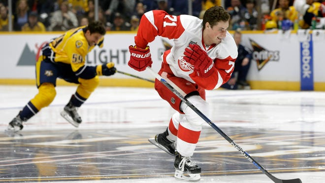 Red Wings forward Dylan Larkin defeats Predators defenseman Roman Josi in their heat in the fastest skater competition Saturday at the NHL All-Star skills competition.