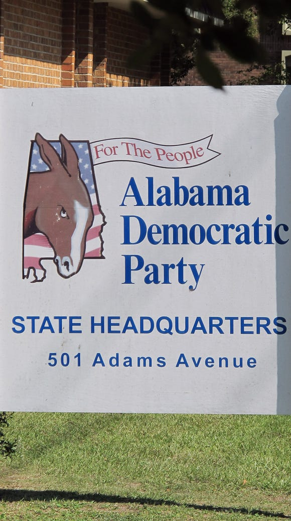 The sign in front of the Alabama Democratic Party headquarters