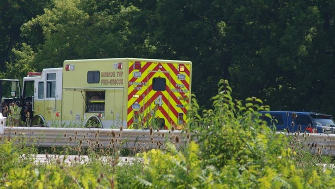 Monroe Township Fire Department and Michigan State Police, on scene of a traffic accident Monday morning on I-75.