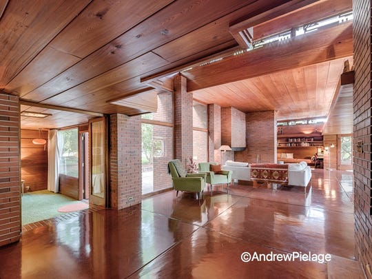 Interior of Still Bend, Frank Lloyd Wright's Bernard Schwartz House in Two Rivers.
