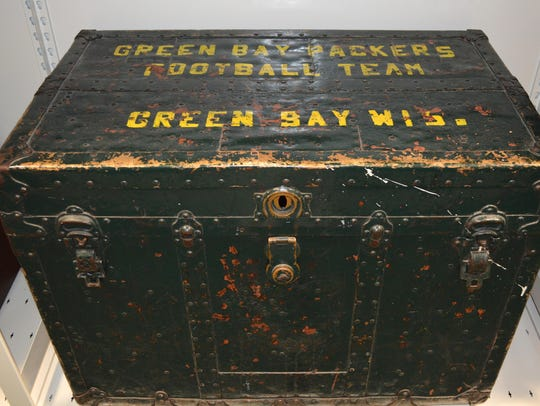 A Green Bay Packers equipment trunk from the 1920s