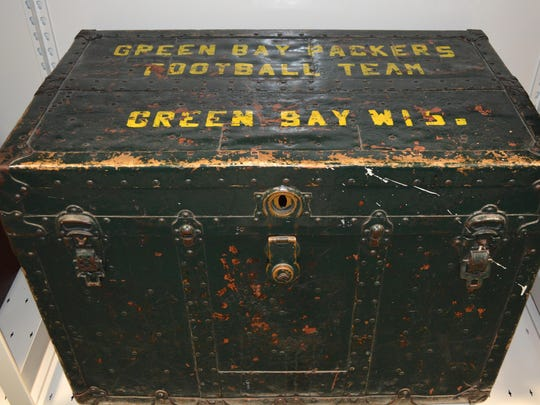 A Green Bay Packers equipment trunk from the 1920s or 1930s archived by the Green Bay Packers Hall of Fame.