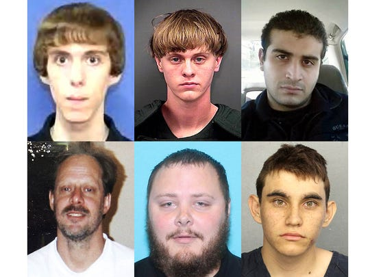 Clockwise from upper left, Adam Lanza, Dylann Roof, Omar Mateen, Nikolas Cruz, Devin Kelley and Stephen Paddock.