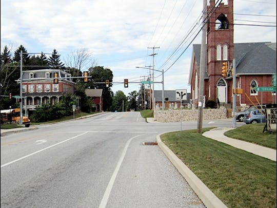 Looking Northward through Freysville Intersection in York County, PA (2015 Photo by S. H. Smith)