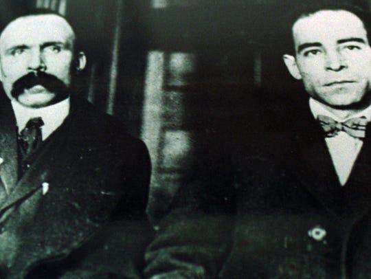 Nicola Sacco (left) and Bartolomeo Vanzetti (right)