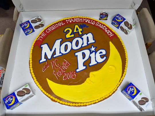 The world's largest MoonPie at the 24th Annual  RCÑMoonPie Festival Saturday June 16, 2018, in Bell Buckle, Tenn.