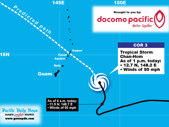 Track Tropical Storm Chan-hom using this graphic.