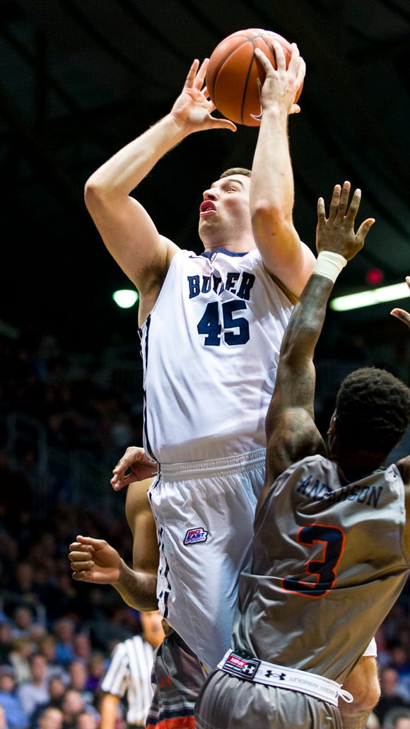 Butler's Andrew Chrabascz puts up a shot during the first half of the Bulldogs' 64-37 victory over UT-Martin on Dec. 22, 2014 at Hinkle Fieldhouse.