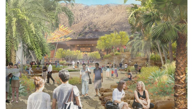 Artist rendering of the Palm Springs Downtown Park looking west from inside the park.