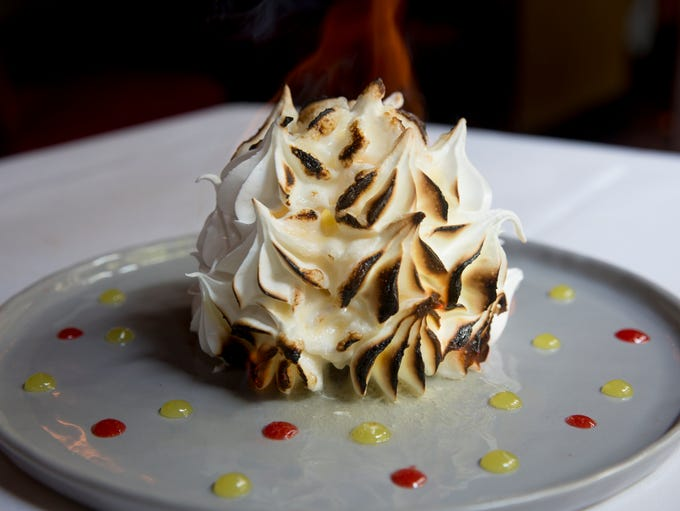 Baked Alaska is lemon ice cream, strawberry champagne