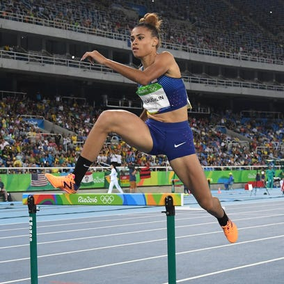 Sydney McLaughlin competes in the women's 400m hurdles
