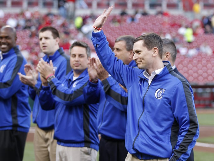 Covington Catholic head basketball coach Scott Ruthsatz led his team to a Kentucky State Championship and was acknowledged prior to the Cincinnati Reds game against the Chicago Cubs at Great American Ball Park.