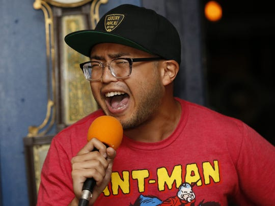 """Comic Jordan Manglona  during """"So You Want to Be a Comedian"""" open mic, hosted by Jess Alaimo, at the Anchors Bend inside Convention Hall. Asbury Park,NJ. Tuesday, August 22,2017 Noah K. Murray-Correspondent Asbury Park Press"""