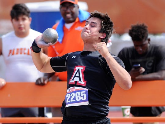 Aspermont's Karter Morris competes in the Class 1A boys shot put at the UIL State Track and Field Championships at the University of Texas' Mike A. Myers Stadium in Austin on Friday. Morris won the bronze medal with a throw of 50 feet, 5 inches