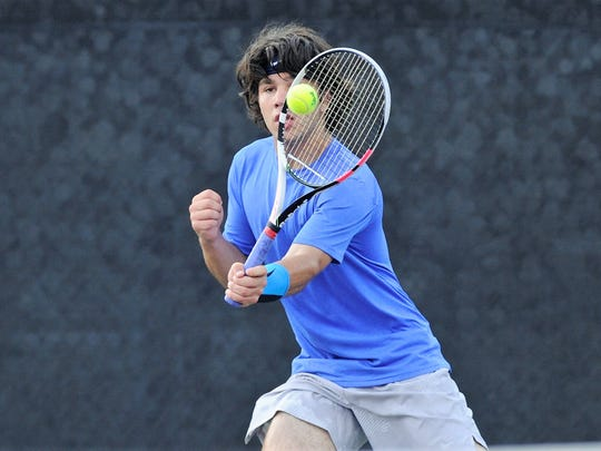 Crowell's Skylar Hayes hits a shot during the Class 1A boys singles final at the UIL state championships in College Station on Friday, May 18, 2018. Crowell lost 6-0, 6-2 to claim the silver medal.